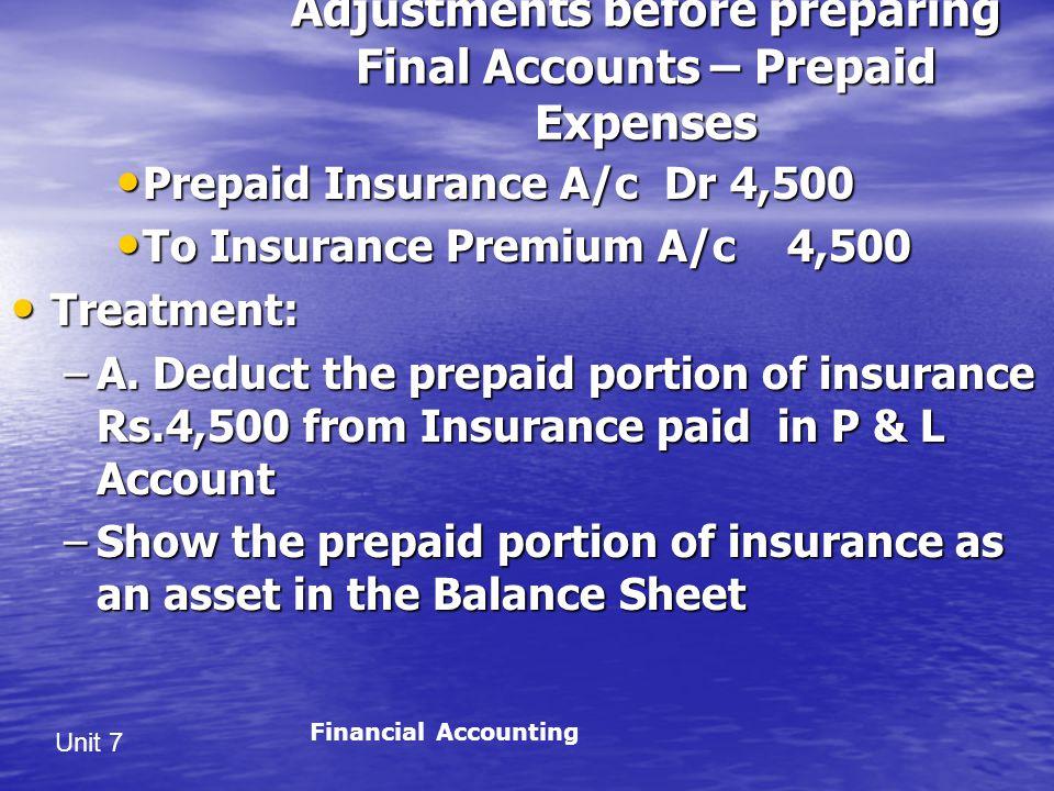 Unit 7 Adjustments before preparing Final Accounts – Prepaid Expenses Prepaid Insurance A/c Dr 4,500 Prepaid Insurance A/c Dr 4,500 To Insurance Premium A/c 4,500 To Insurance Premium A/c 4,500 Treatment: Treatment: –A.