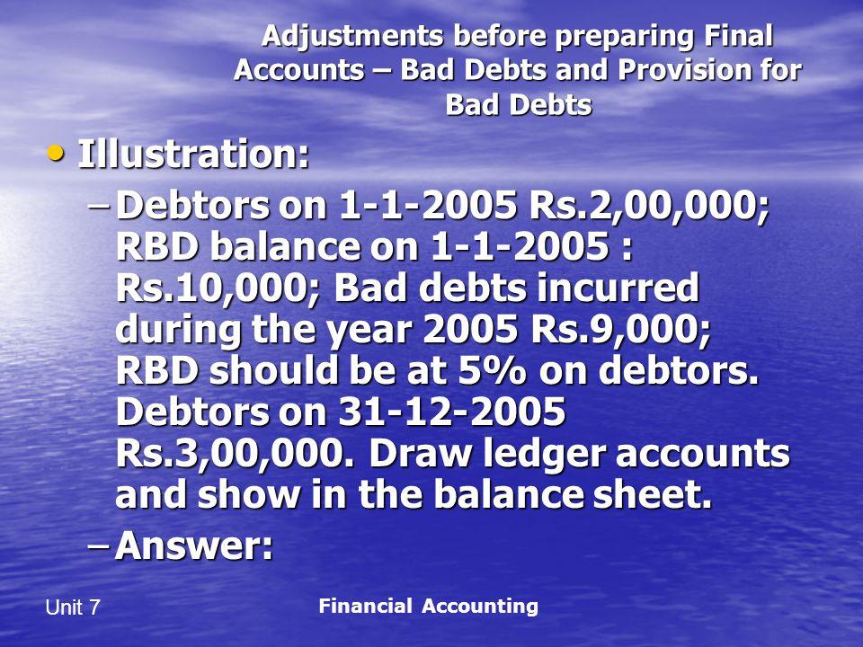 Unit 7 Adjustments before preparing Final Accounts – Bad Debts and Provision for Bad Debts Illustration: Illustration: –Debtors on 1-1-2005 Rs.2,00,000; RBD balance on 1-1-2005 : Rs.10,000; Bad debts incurred during the year 2005 Rs.9,000; RBD should be at 5% on debtors.