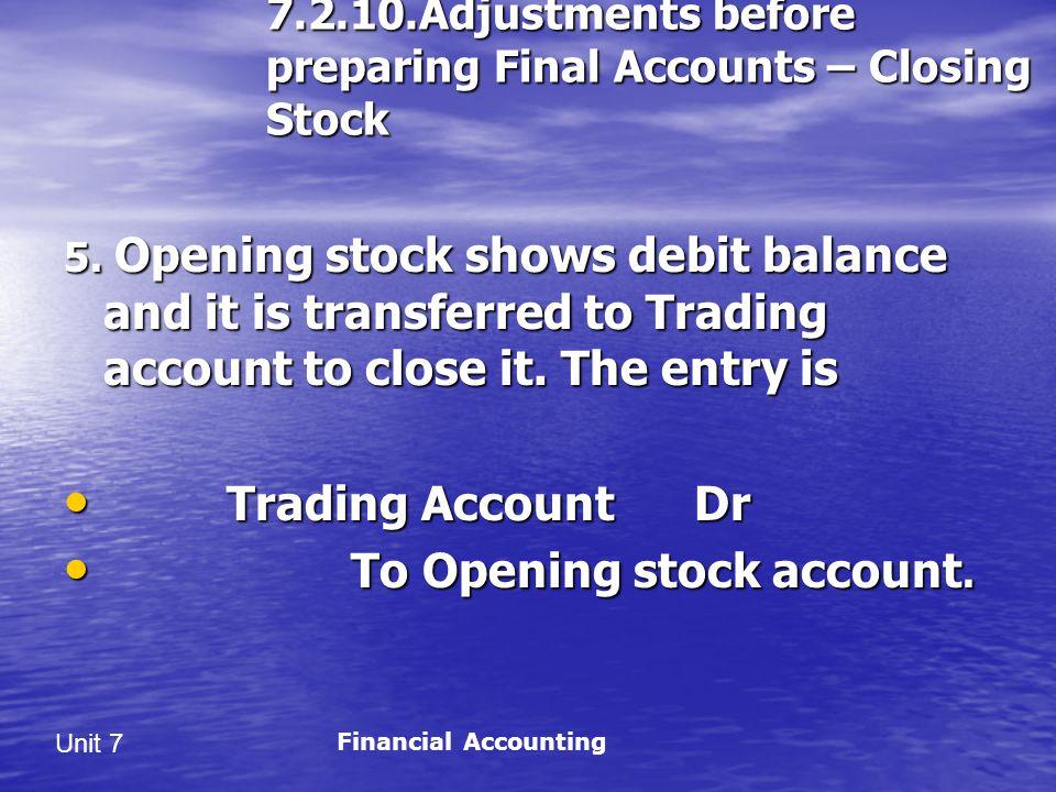 Unit 7 7.2.10.Adjustments before preparing Final Accounts – Closing Stock 5.