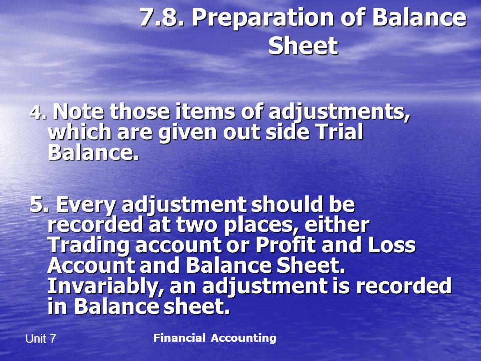 Unit 7 7.8.Preparation of Balance Sheet 4.