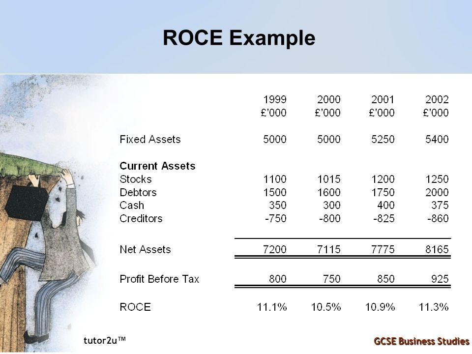 tutor2u ™ GCSE Business Studies ROCE Example