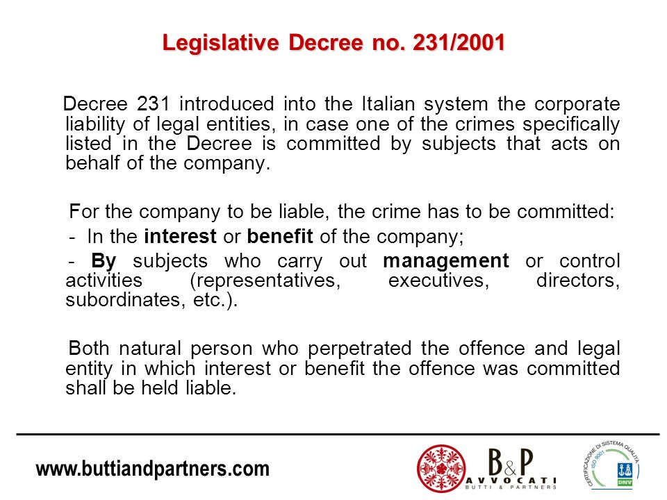 www.buttiandpartners.com An Italian Case Law Criminal Court of Turin, April 15, 2011, n.