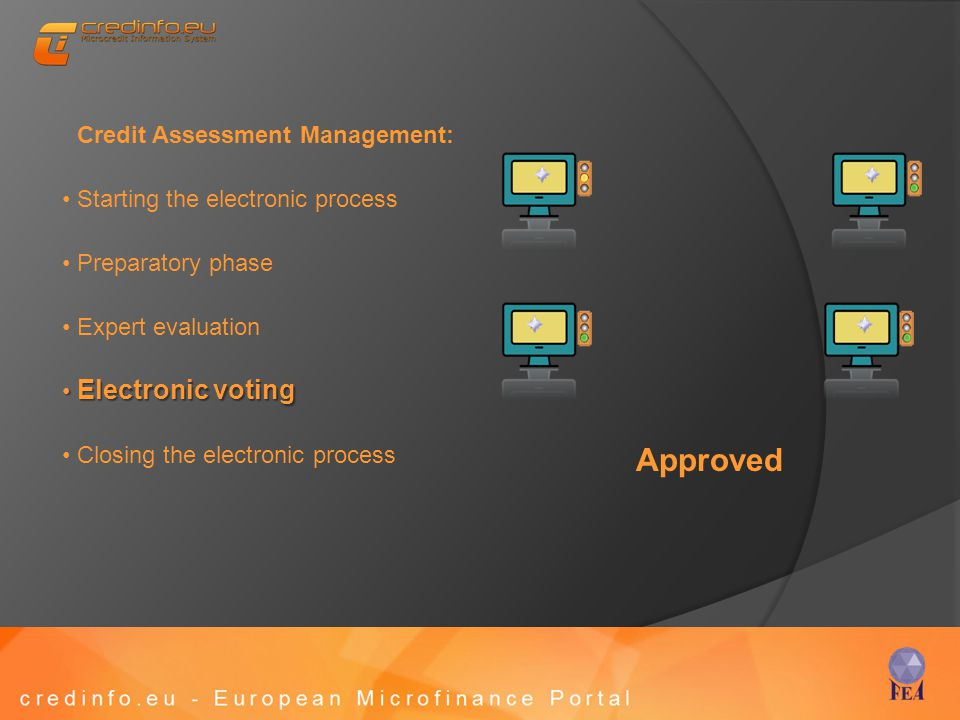 Credit Assessment Management: Starting the electronic process Preparatory phase Expert evaluation Electronic voting Electronic voting Closing the electronic process Approved