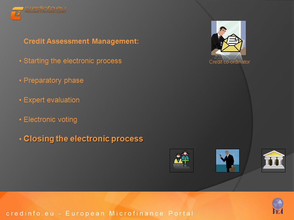 Credit Assessment Management: Starting the electronic process Preparatory phase Expert evaluation Electronic voting Closing the electronic process Cre