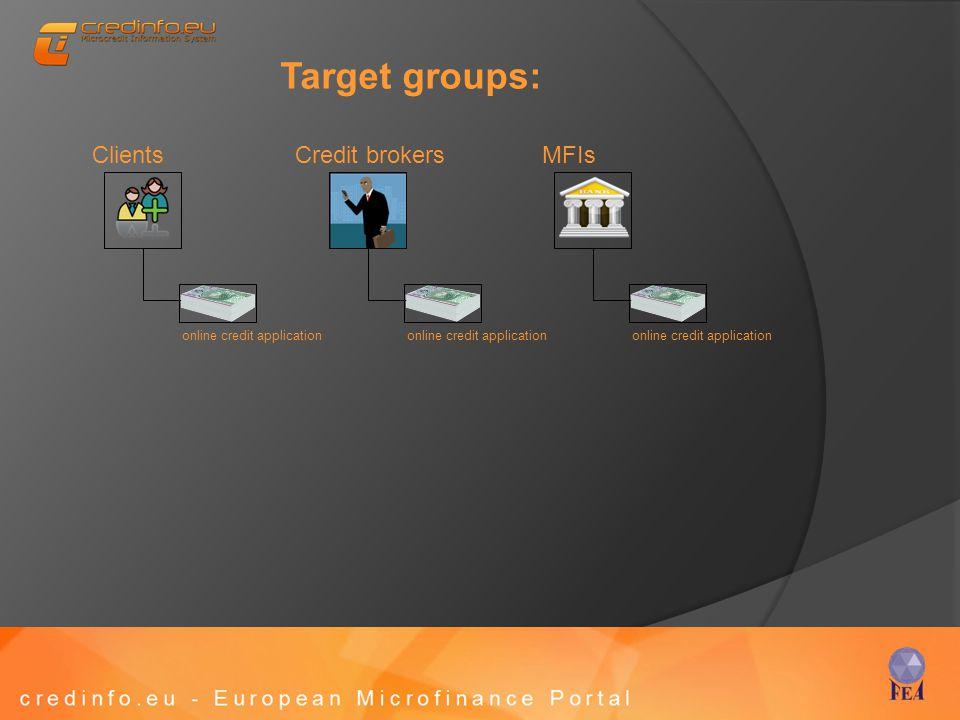 Target groups: Credit brokersClientsMFIs online credit application