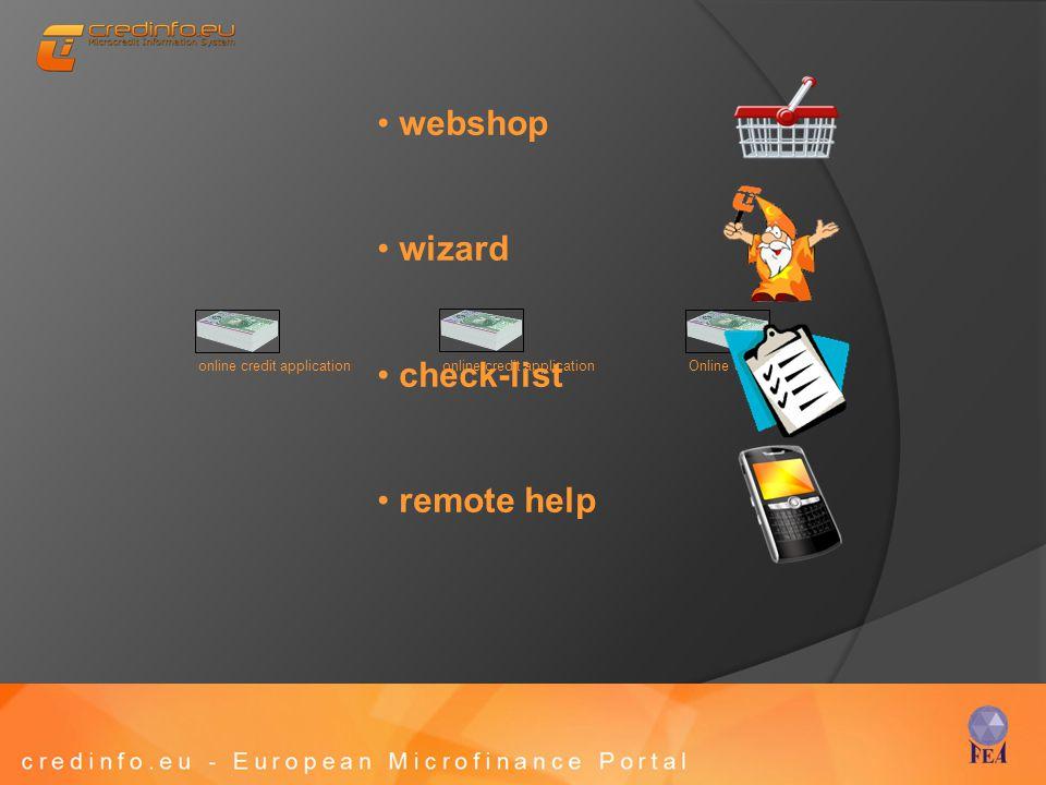 webshop wizard check-list remote help online credit application Online credit application