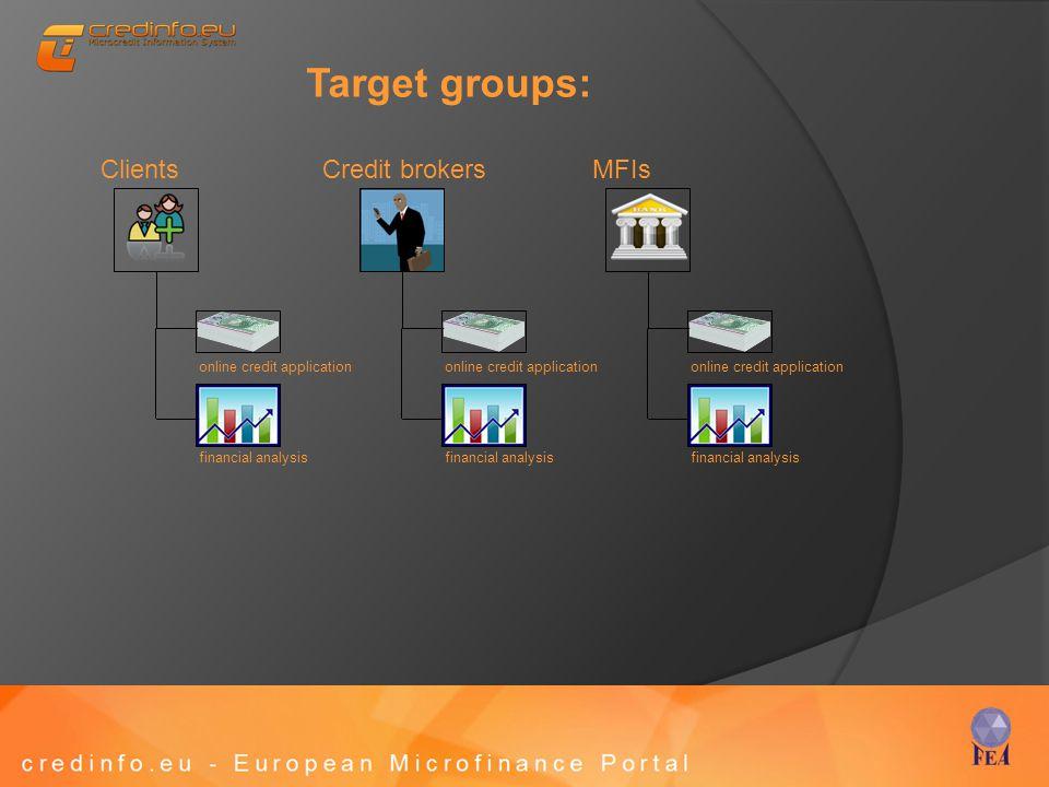 Target groups: Credit brokersClientsMFIs online credit application financial analysis