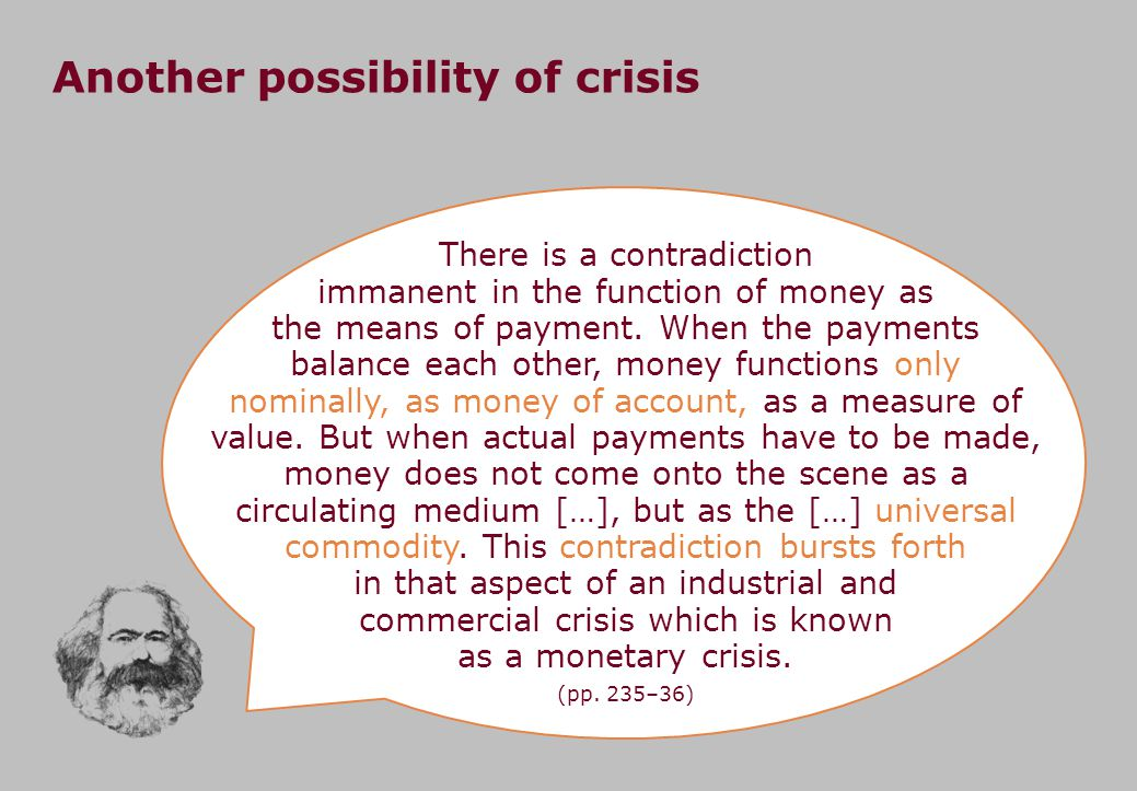 Another possibility of crisis There is a contradiction immanent in the function of money as the means of payment.