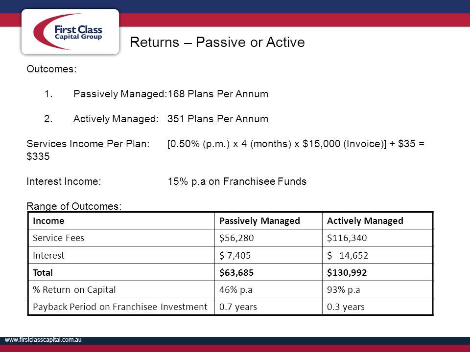 www.firstclasscapital.com.au Outcomes: 1.Passively Managed:168 Plans Per Annum 2.Actively Managed:351 Plans Per Annum Services Income Per Plan:[0.50%