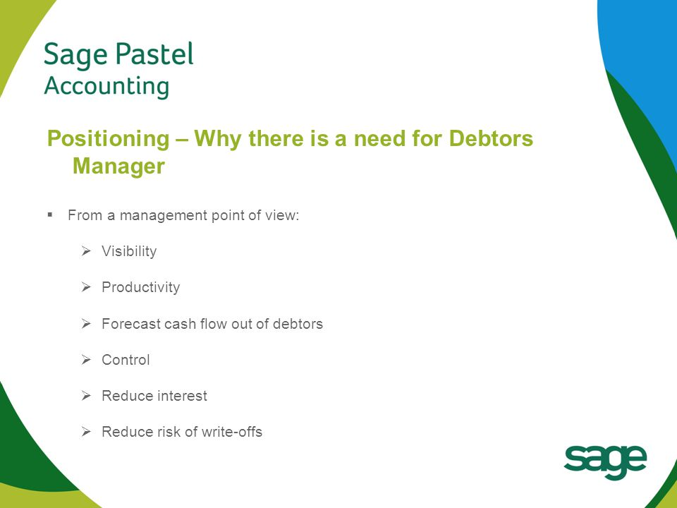Heading 1 (Arial bold - point size 22) Positioning – Why there is a need for Debtors Manager  From a management point of view:  Visibility  Productivity  Forecast cash flow out of debtors  Control  Reduce interest  Reduce risk of write-offs