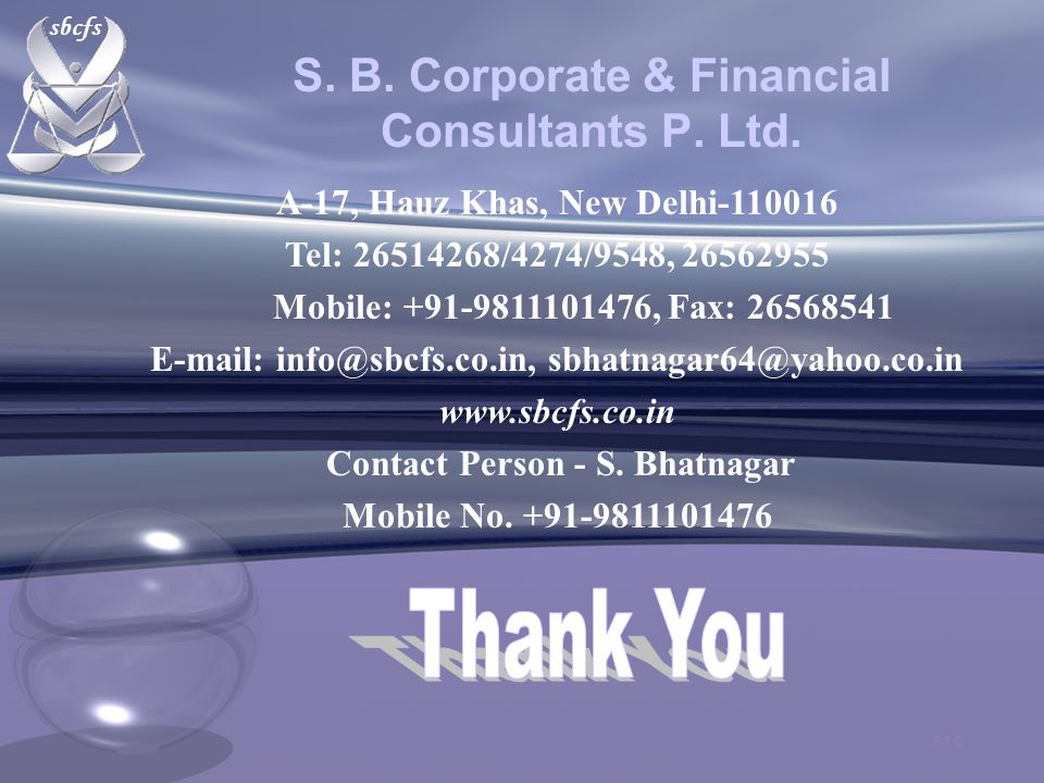 sbcfs S. B. Corporate & Financial Consultants P.