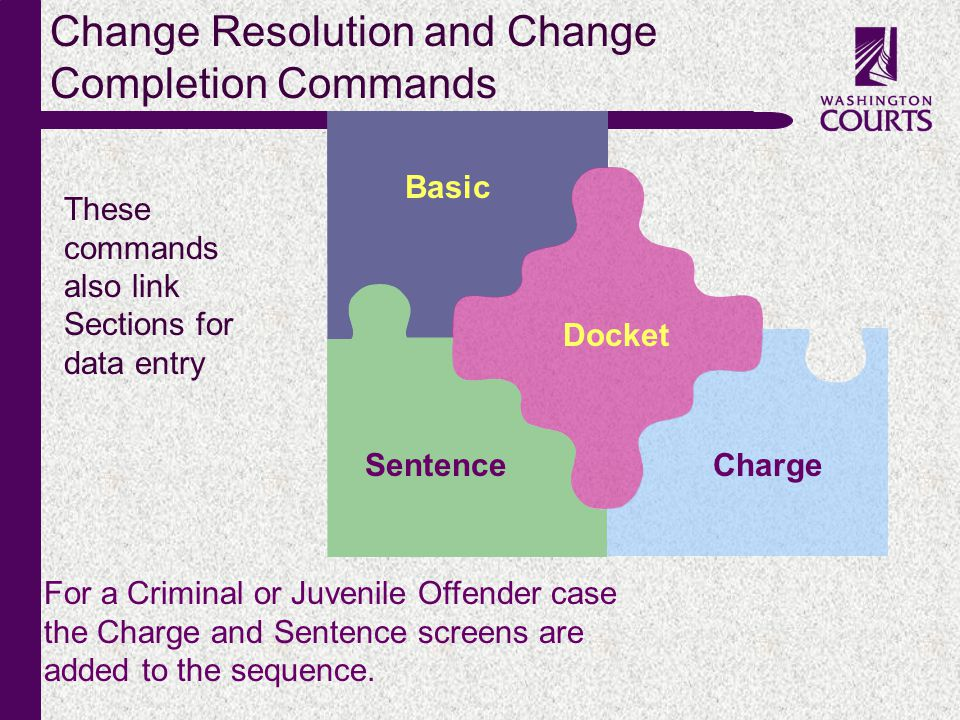 c Change Resolution and Change Completion Commands Basic Docket ChargeSentence For a Criminal or Juvenile Offender case the Charge and Sentence screen