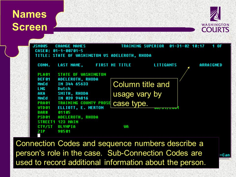 c Names Screen Connection Codes and sequence numbers describe a person's role in the case. Sub-Connection Codes are used to record additional informat