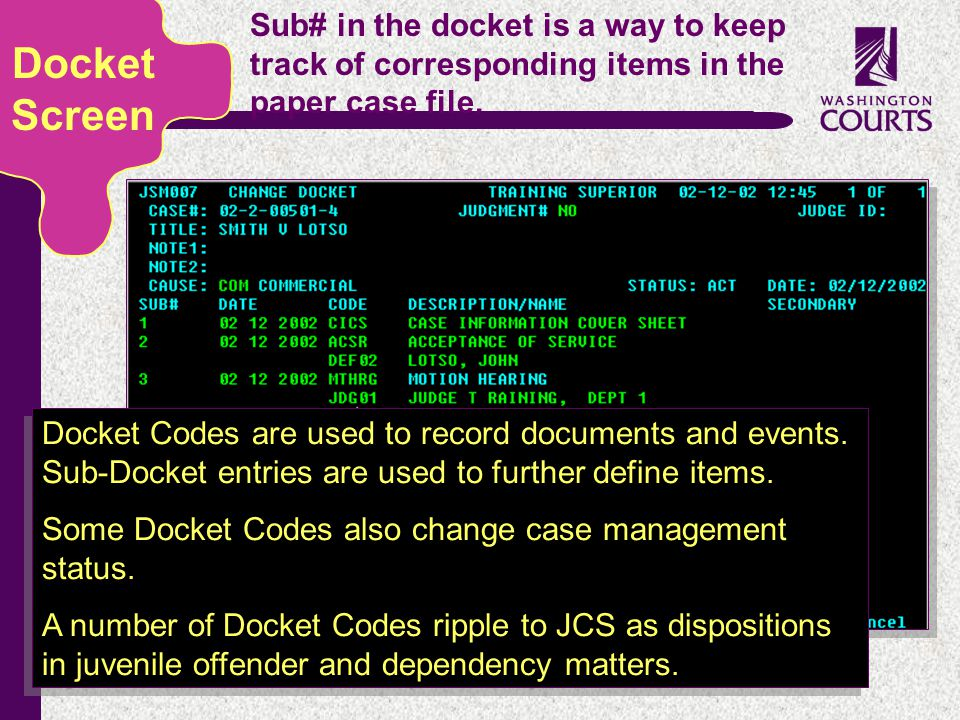 c Sub# in the docket is a way to keep track of corresponding items in the paper case file. Docket Screen Docket Codes are used to record documents and