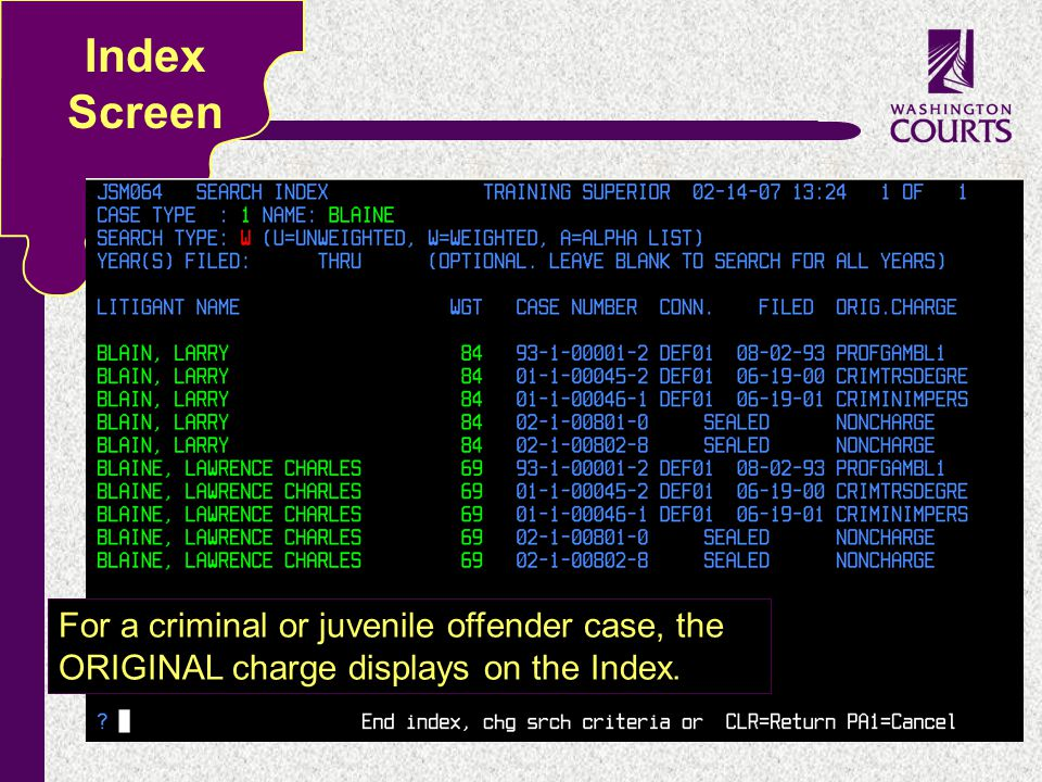 c Index Screen For a criminal or juvenile offender case, the ORIGINAL charge displays on the Index.