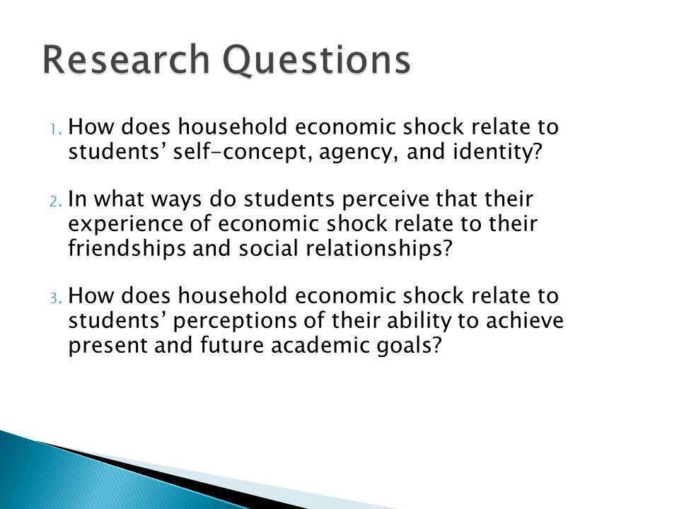 1. How does household economic shock relate to students' self-concept, agency, and identity.