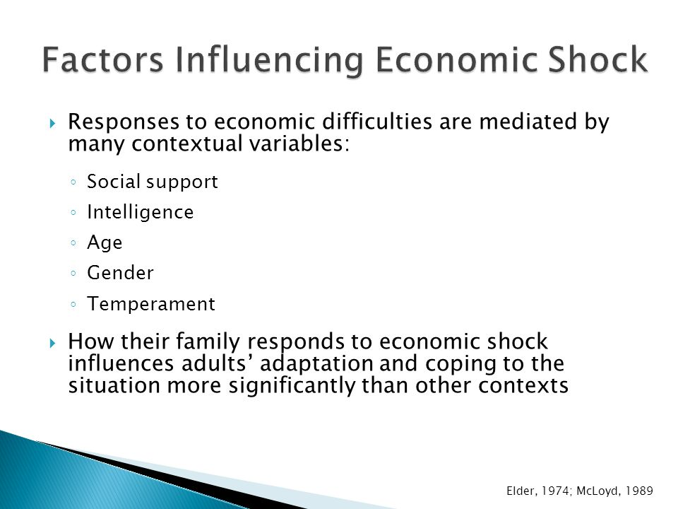  Responses to economic difficulties are mediated by many contextual variables: ◦ Social support ◦ Intelligence ◦ Age ◦ Gender ◦ Temperament  How their family responds to economic shock influences adults' adaptation and coping to the situation more significantly than other contexts Elder, 1974; McLoyd, 1989