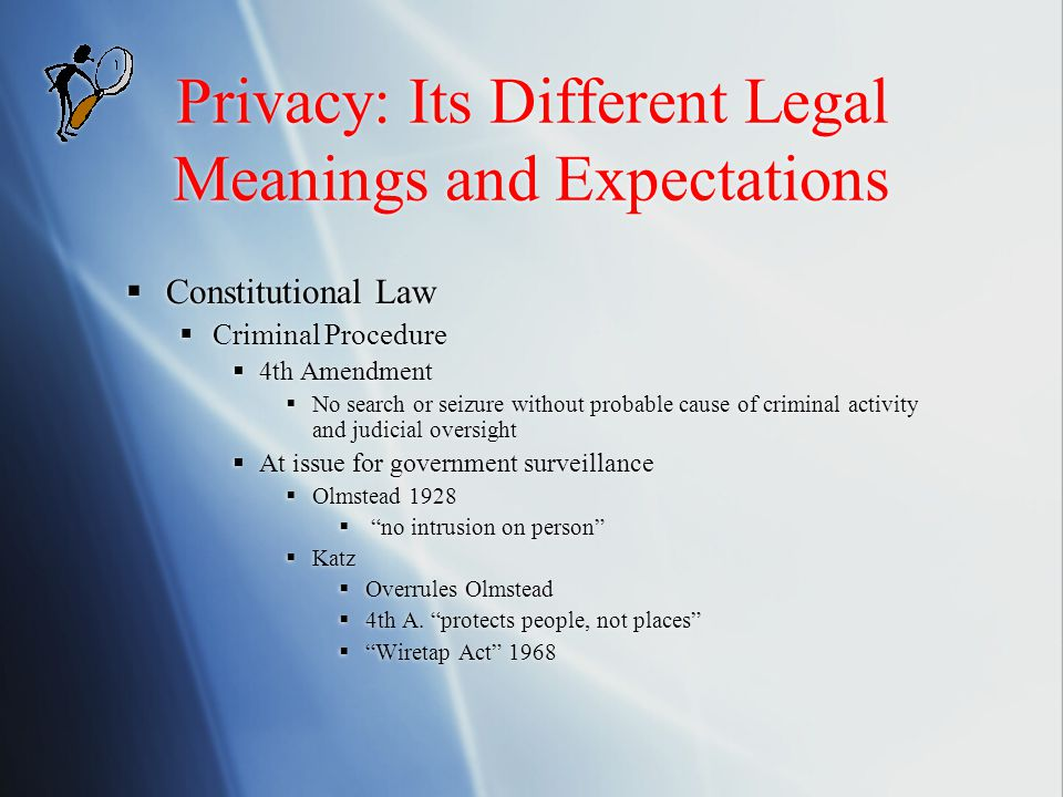 Privacy: Its Different Legal Meanings and Expectations  Constitutional Law  Criminal Procedure  4th Amendment  No search or seizure without probab