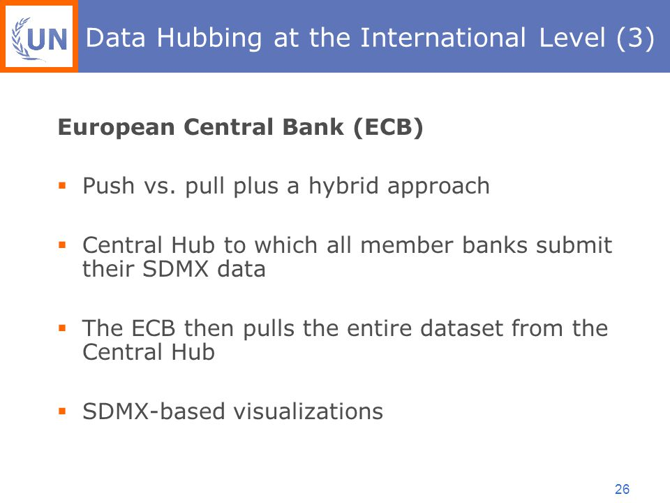 26 Data Hubbing at the International Level (3) European Central Bank (ECB)  Push vs.