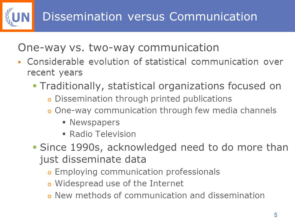5 Dissemination versus Communication One-way vs.