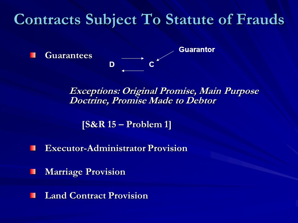 Contracts Subject To Statute of Frauds Guarantees Exceptions: Original Promise, Main Purpose Doctrine, Promise Made to Debtor Exceptions: Original Pro