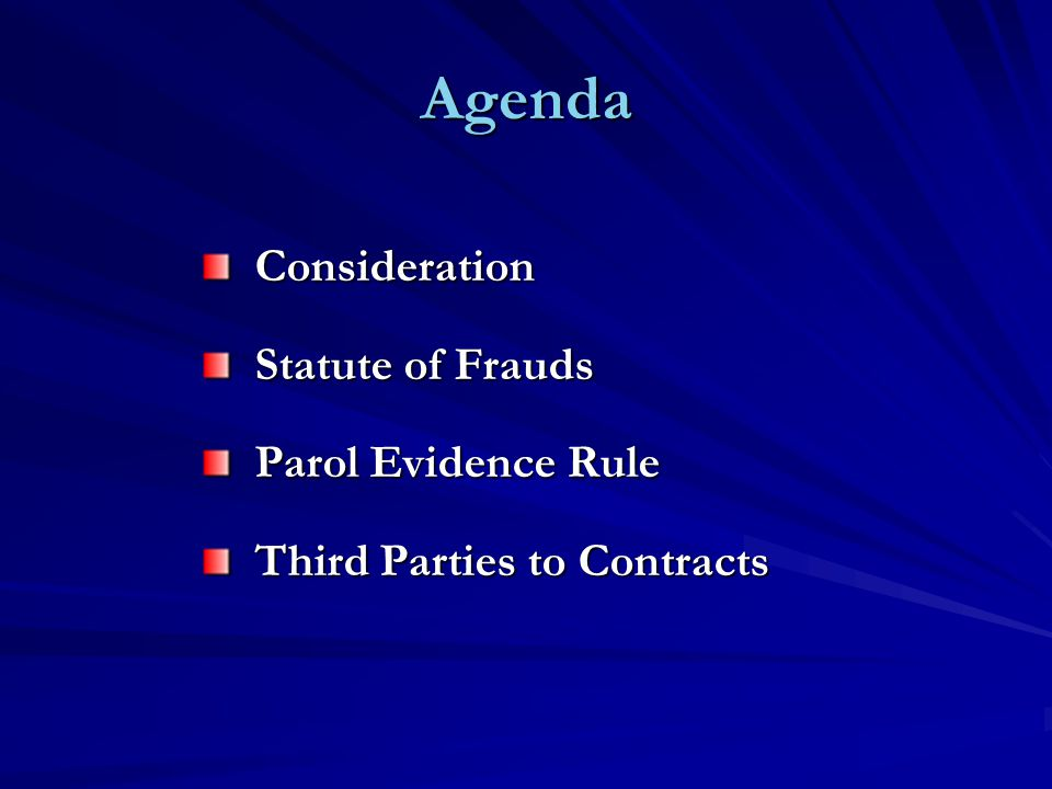 Agenda Consideration Statute of Frauds Parol Evidence Rule Third Parties to Contracts