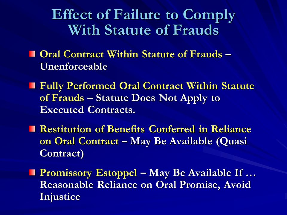 Effect of Failure to Comply With Statute of Frauds Oral Contract Within Statute of Frauds – Unenforceable Fully Performed Oral Contract Within Statute