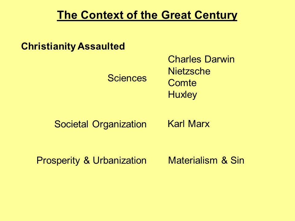 The Context of the Great Century Christianity Assaulted Sciences Societal Organization Prosperity & Urbanization Charles Darwin Nietzsche Comte Huxley Karl Marx Materialism & Sin