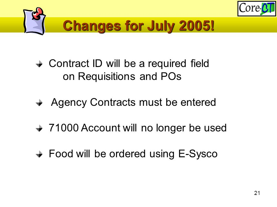 21 Changes for July 2005.