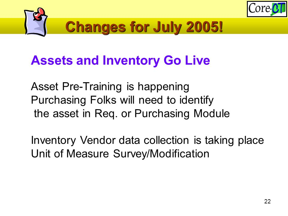 22 Changes for July 2005.