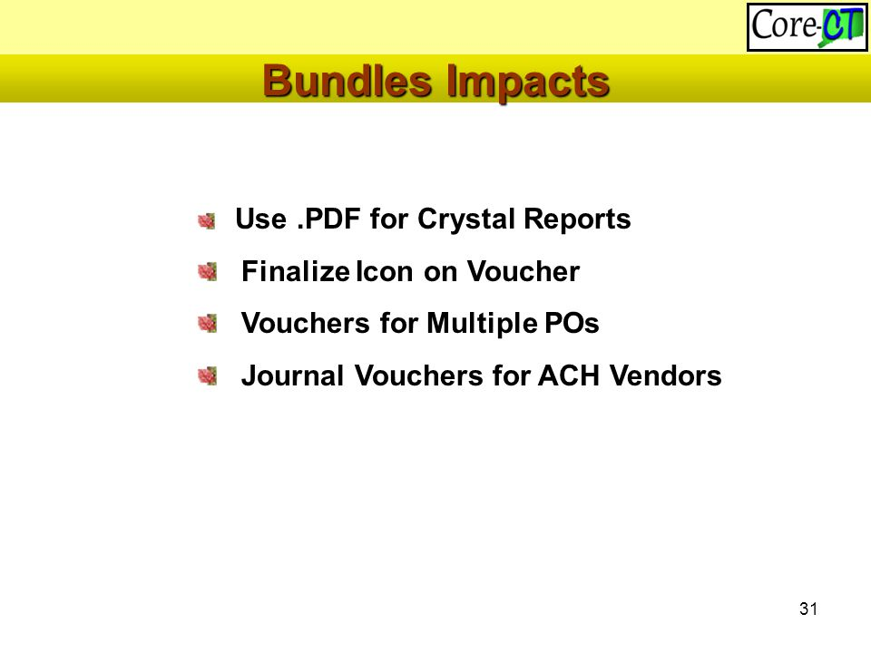 31 Use.PDF for Crystal Reports Finalize Icon on Voucher Vouchers for Multiple POs Journal Vouchers for ACH Vendors Bundles Impacts