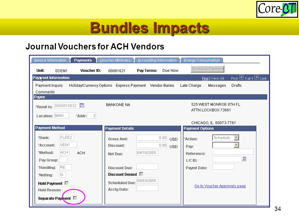 34 Journal Vouchers for ACH Vendors Bundles Impacts