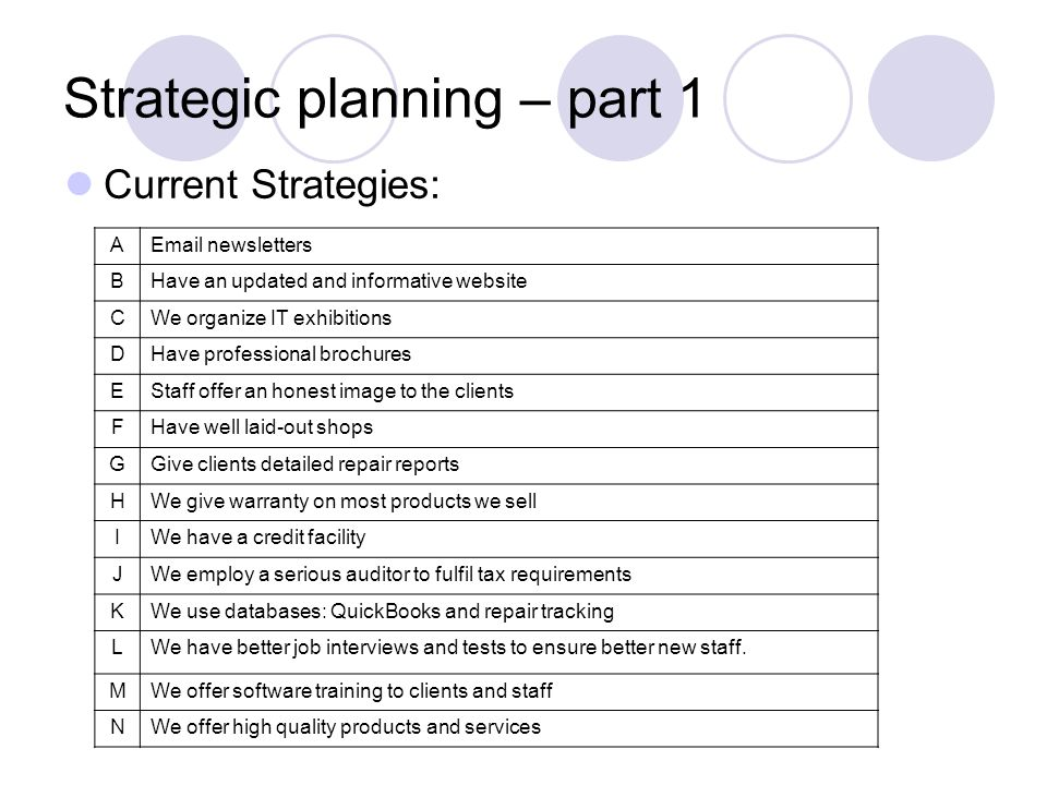 Strategic planning – part 1 Current Strategies: AEmail newsletters BHave an updated and informative website CWe organize IT exhibitions DHave professional brochures EStaff offer an honest image to the clients FHave well laid-out shops GGive clients detailed repair reports HWe give warranty on most products we sell IWe have a credit facility JWe employ a serious auditor to fulfil tax requirements KWe use databases: QuickBooks and repair tracking LWe have better job interviews and tests to ensure better new staff.