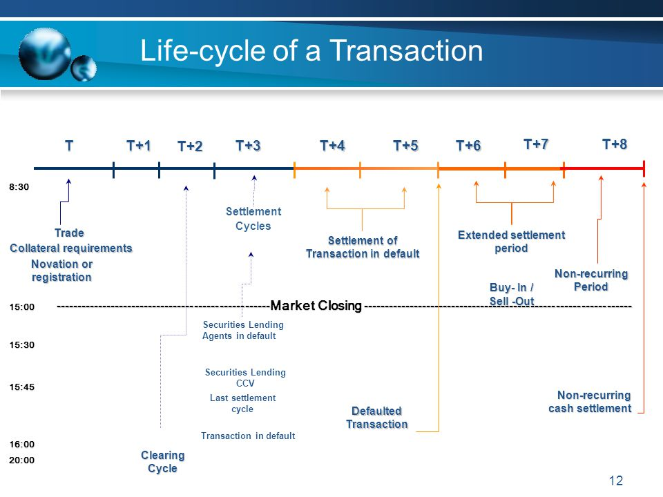 12 Life-cycle of a Transaction TT+1T+3T+4T+5T+6 DefaultedTransaction Non-recurring cash settlement Securities Lending Agents in default Trade Settleme