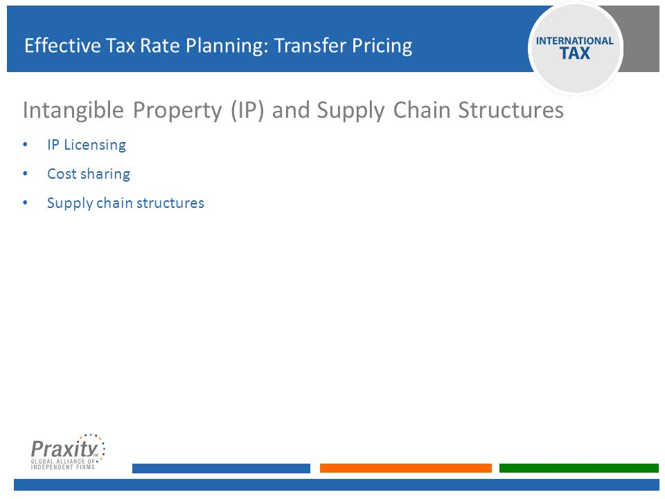 Intangible Property (IP) and Supply Chain Structures IP Licensing Cost sharing Supply chain structures Effective Tax Rate Planning: Transfer Pricing