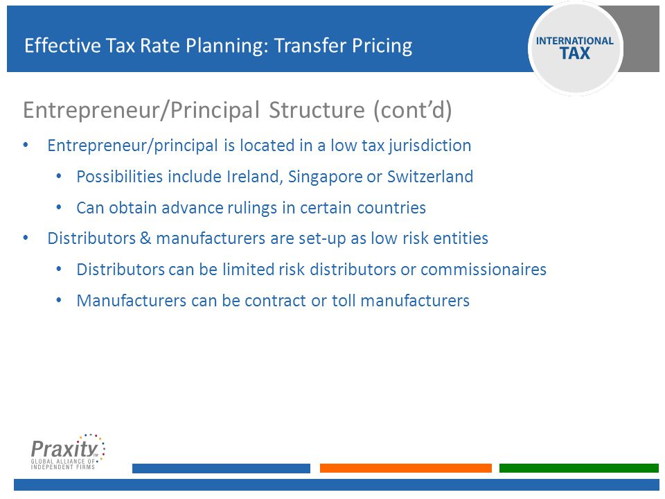 Entrepreneur/Principal Structure (cont'd) Entrepreneur/principal is located in a low tax jurisdiction Possibilities include Ireland, Singapore or Swit