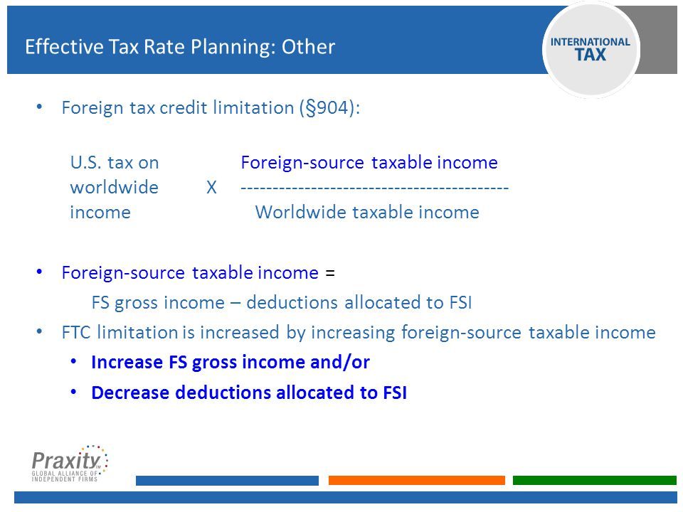 Foreign tax credit limitation (§904): U.S. tax onForeign-source taxable income worldwide X------------------------------------------ income Worldwide