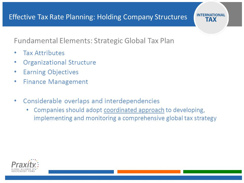 Selection of Holding Company Jurisdiction Business needs Treaty network Quality of Advisors, service providers Banking and other treasury infrastructure Regulatory regime – capitalizing/unwinding structure Cost of doing business Effective Tax Rate Planning: Holding Company Structures