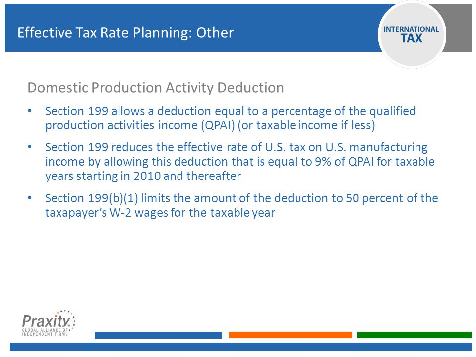 Domestic Production Activity Deduction Section 199 allows a deduction equal to a percentage of the qualified production activities income (QPAI) (or t