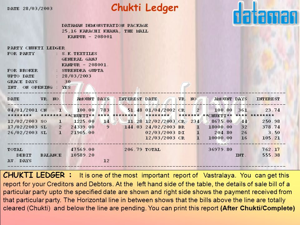 CHUKTI LEDGER : It is one of the most important report of Vastralaya.