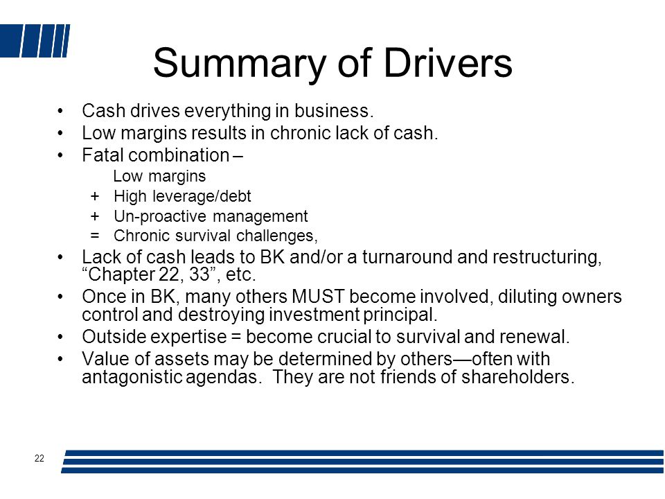 22 Summary of Drivers Cash drives everything in business.