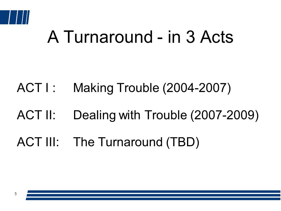 5 A Turnaround - in 3 Acts ACT I : Making Trouble (2004-2007) ACT II:Dealing with Trouble (2007-2009) ACT III:The Turnaround (TBD)