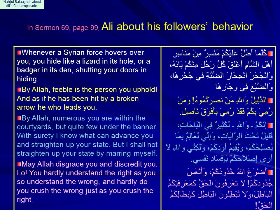 Nahjul Balaaghah about Ali s Contemporaries In Sermon 69, page 99, Ali about his followers' behavior Whenever a Syrian force hovers over you, you hide like a lizard in its hole, or a badger in its den, shutting your doors in hiding.