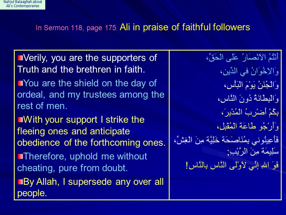 Nahjul Balaaghah about Ali s Contemporaries In Sermon 118, page 175, Ali in praise of faithful followers Verily, you are the supporters of Truth and the brethren in faith.