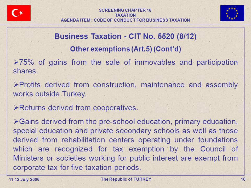10The Republic of TURKEY Business Taxation - CIT No.