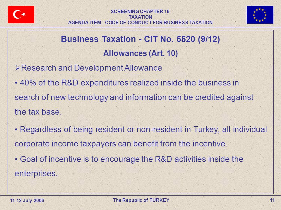 11The Republic of TURKEY Business Taxation - CIT No.