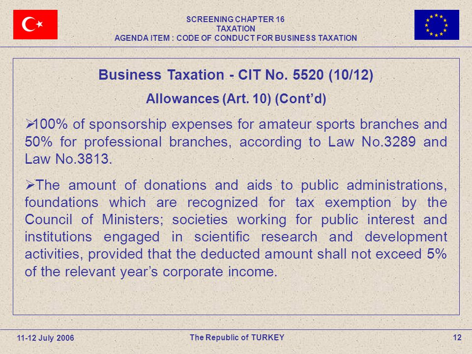 12The Republic of TURKEY Business Taxation - CIT No.