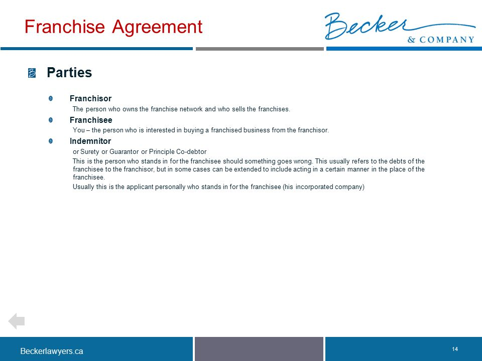 Beckerlawyers.ca. 14 Parties Franchisor The person who owns the franchise network and who sells the franchises. Franchisee You – the person who is int