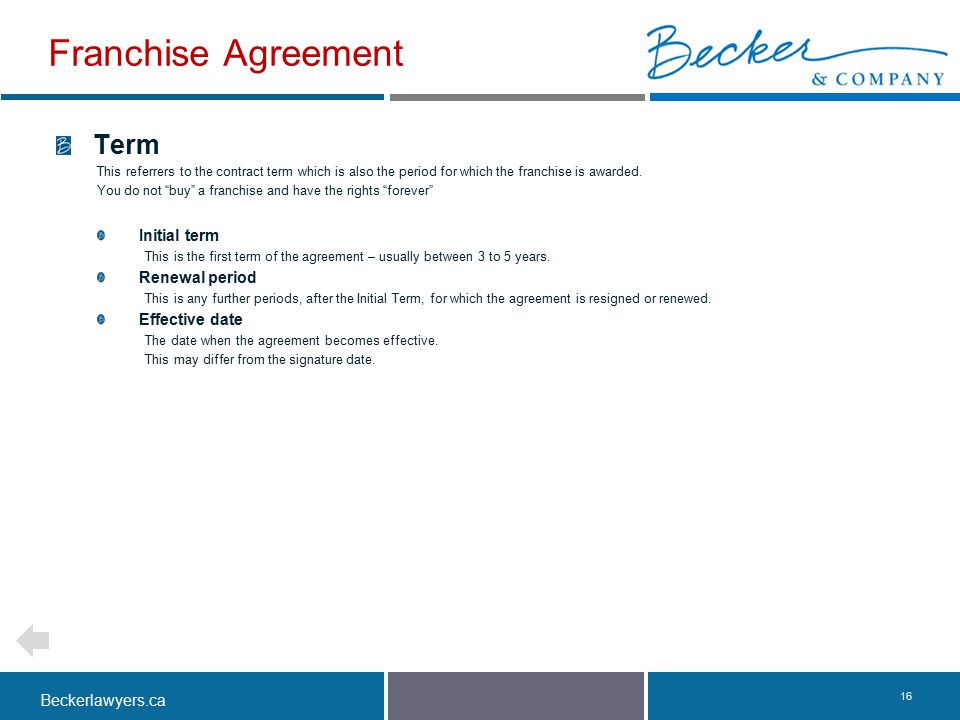 """Beckerlawyers.ca. 16 Term This referrers to the contract term which is also the period for which the franchise is awarded. You do not """"buy"""" a franchis"""