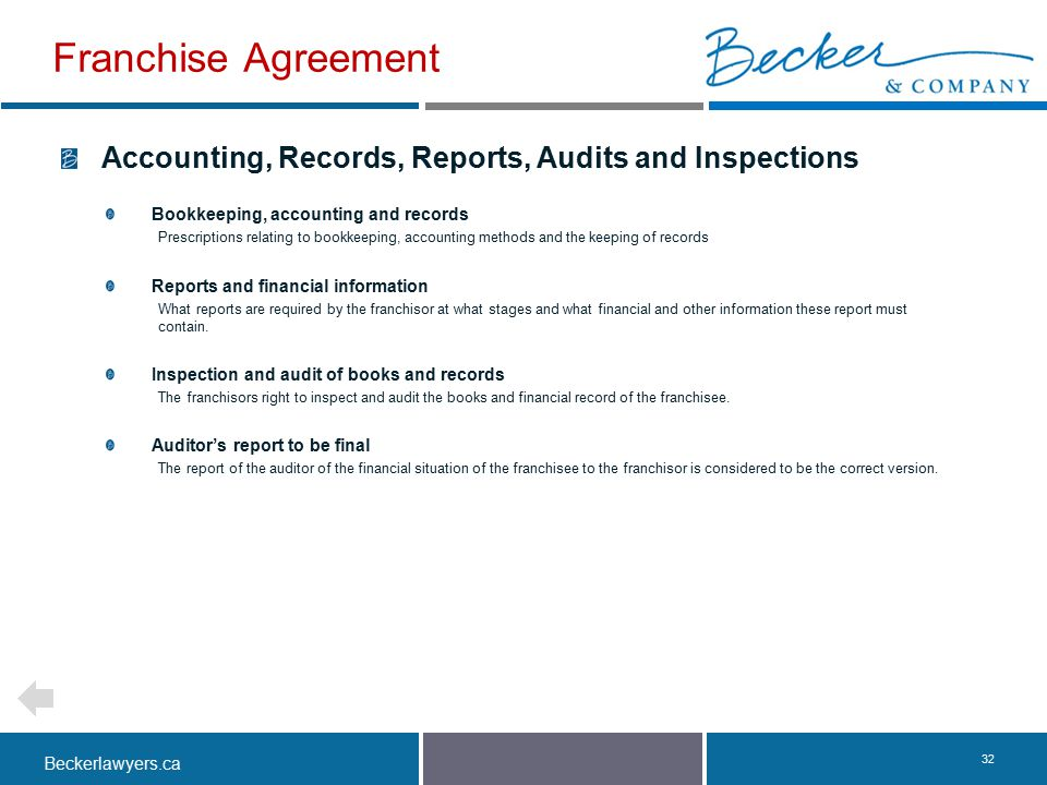 Beckerlawyers.ca. 32 Accounting, Records, Reports, Audits and Inspections Bookkeeping, accounting and records Prescriptions relating to bookkeeping, a